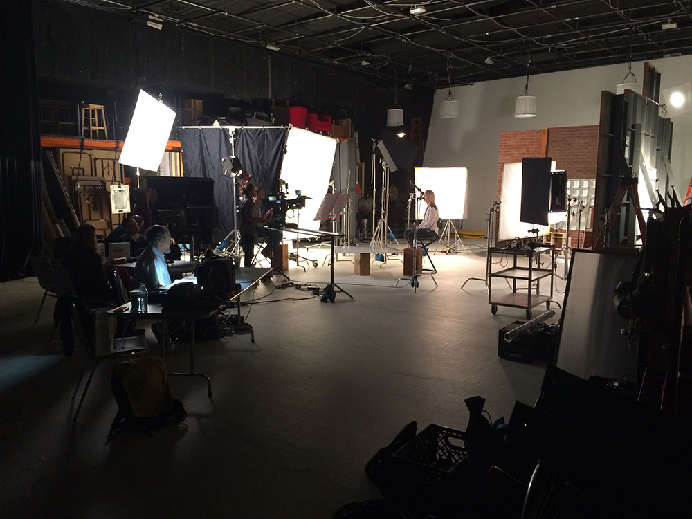Large Studio with Girl Sitting